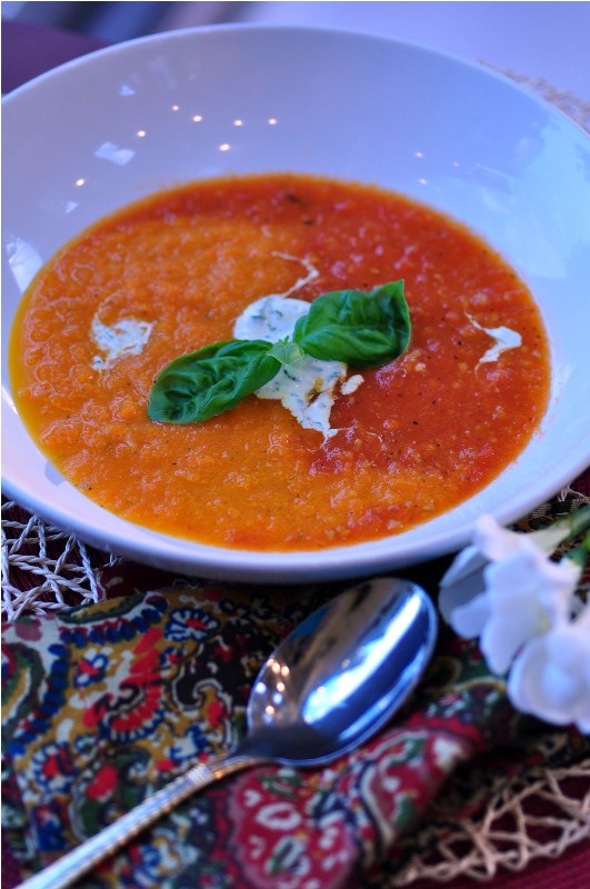 Post image for Roasted Carrots & Tomato Soup with a Topping of Basil Infused Creme Fraiche