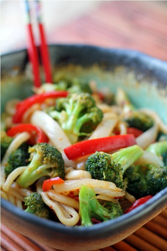 Post image for Spicy Stir Fried Udon Noodles with Veggies